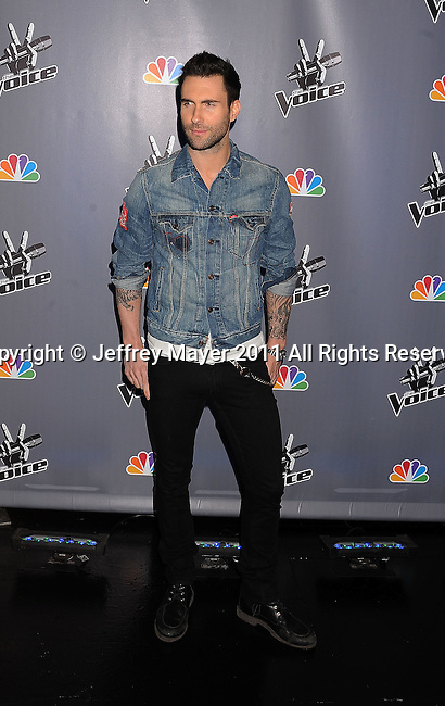 "LOS ANGELES, CA - MARCH 15: Adam Levine of Maroon 5 attends NBC's ""The Voice"" Press Conference at L.A. Center Studios on March 15, 2011 in Los Angeles, California."