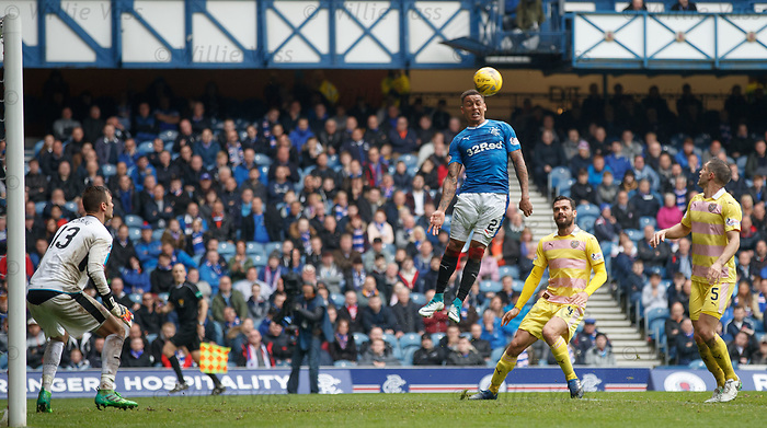 James Tavernier with a free header on goal