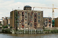 London Docklands:  Old Warehousing, ripe for development for condo conversion.  Summer 1987.