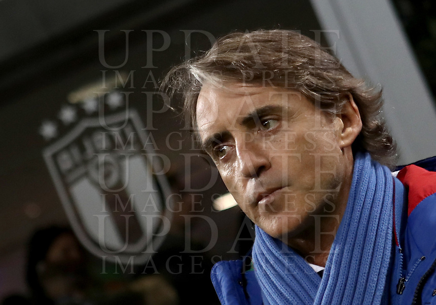 Football: Uefa Nations League Group 3match Italy vs Portugal at Giuseppe Meazza (San Siro) stadium in Milan, on November 17, 2018.<br /> Italy's national team coach Roberto Mancini looks on prior to the Uefa Nations League match between Italy and Portugal at Giuseppe Meazza (San Siro) stadium in Milan, on November 17, 2018.<br /> UPDATE IMAGES PRESS/Isabella Bonotto