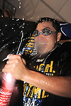 Norichika Aoki (Royals),<br /> OCTOBER 5, 2014 - MLB :<br /> Norichika Aoki of the Kansas City Royals celebrates with beer after winning the American League Division Series (ALDS) Game 3 against the Los Angeles Angels at Kauffman Stadium in Kansas City, Missouri, United States. (Photo by AFLO)