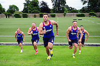 Chris Cook, Ross Batty, Matt Banahan, Max Lahiff and Jeff Williams of Bath Rugby in action during a Bath Rugby photoshoot on June 21, 2016 at Farleigh House in Bath, England. Photo by: Patrick Khachfe / Onside Images