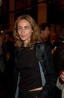 French actress Emanuelle Beart who is the President of the 25th  World Film Festival's  Jurysmile for a photo  at  the Party of the German Delegation , August 26th, 2001<br /> in Montreal, CANADA<br /> <br /> Brought up on a farm in Provence because her father, French singer and poet Guy BÈart didn't want her to be affected by the glamour world of Paris showbusiness, Emmanuelle BÈart nevertheless got the acting urge in early adolescence. At age 15, after a couple of bit parts, she came to Montreal as an au pair to learn English. Back in France, after acting lessons and few small roles in television, she made her big-screen breakthrough in the title role of Claude Berri's Pagnol adaptation, MANON OF THE SPRING (1986). A year later she made her Hollywood debut in Tom McLoughlin's DATE WITH AN ANGEL. She has since played for some of the premier directors on both sides of the Atlantic: Rivette (LA BELLE NOISEUSE, 1991), Sautet (NELLY AND MR. ARNAUD (1995), Chabrol (L'ENFER,1994), De Palma (MISSION: IMPOSSIBLE, 1996) and Ruiz (TIME REGAINED, 1999). She stars in Catherine Corsini's REPLAY, showing at this year's Festival.<br /> <br /> Photo by Pierre Roussel / Getty Images (On Spec)<br /> <br /> NOTE : Nikon D-1 JPEG opened with QUIMAGE ICC profile , saved as Adobe RG 1998 color space.