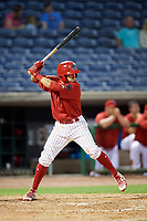 Clearwater Threshers third baseman Jose Gomez (3) at bat during a game against the Jupiter Hammerheads on April 12, 2018 at Spectrum Field in Clearwater, Florida.  Jupiter defeated Clearwater 8-4.  (Mike Janes/Four Seam Images)