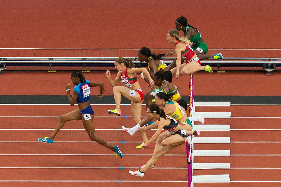 Mcc0078114 . Daily Telegraph<br /> <br /> DT Sport<br /> <br /> USA's Christina Manning in the 2nd semi final for the Women's 100m hurdles<br /> <br /> Day 8 of the IAAF World Championships at the London Stadium in Stratford .<br /> <br /> 11 August 2017