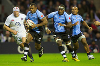 Vereniki Goneva of the Flying Fijians leads the charge upfield during the QBE International between England and Fiji at Twickenham on Saturday 10th November 2012 (Photo by Rob Munro)