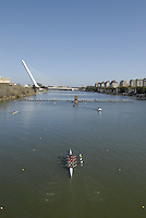 "Seville. SPAIN, 18.02.2007, looking down from the  ""Puente de la Barqueta"" [bridge] towards  the  pontoon for the 500 metre start at the  FISA Team Cup, held on the River Guadalquiver course. [Photo Peter Spurrier/Intersport Images]    [Mandatory Credit, Peter Spurier/ Intersport Images]. , Rowing Course: Rio Guadalquiver Rowing Course, Seville, SPAIN,"