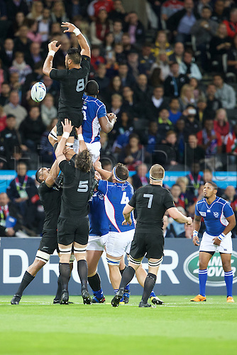 24.09.2015. Olympic Stadium, London, England. Rugby World Cup. New Zealand versus Namibia. New Zealand All Black number 8 Victor Vito clears the ball.