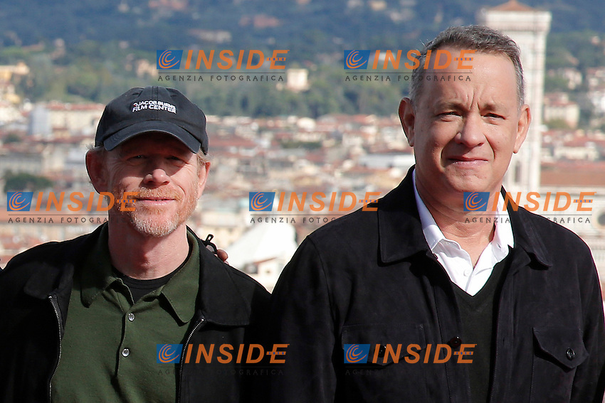 Ron Hoeard eTom Hanks <br /> Firenze 07-10-2016. Photocall del film 'Inferno' a Forte Belvedere, con il panorama della citta' di Firenze<br /> Florence 7th October 2016. 'Inferno' Photocall at Forte Belvedere. In the background the panorama of Florence.<br /> Foto Samantha Zucchi Insidefoto