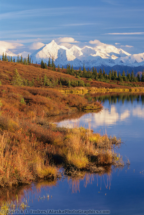 Autumn shoreside of Wonder Lake, mount Brooks and the Alaska Range, Denali National Park, Alaska