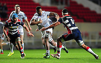 Levi Douglas of Bath Rugby goes on the attack. European Rugby Challenge Cup match, between Bristol Rugby and Bath Rugby on January 13, 2017 at Ashton Gate Stadium in Bristol, England. Photo by: Patrick Khachfe / Onside Images