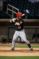 Chattanooga Lookouts Chris Okey (19) at bat during a Southern League game against the Birmingham Barons on May 1, 2019 at Regions Field in Birmingham, Alabama.  Chattanooga defeated Birmingham 5-0.  (Mike Janes/Four Seam Images)