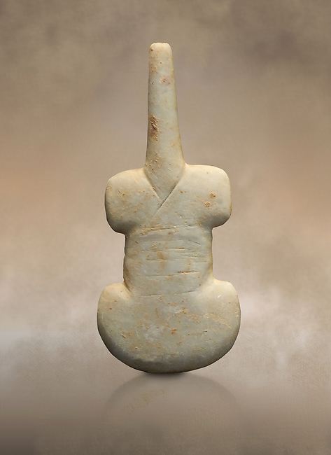 Cycladic violin shaped figurine. Early Cycladic Period I (Grotta-Pelos Phase 3200-2800 BC). National Archaeological Museum, Athens.