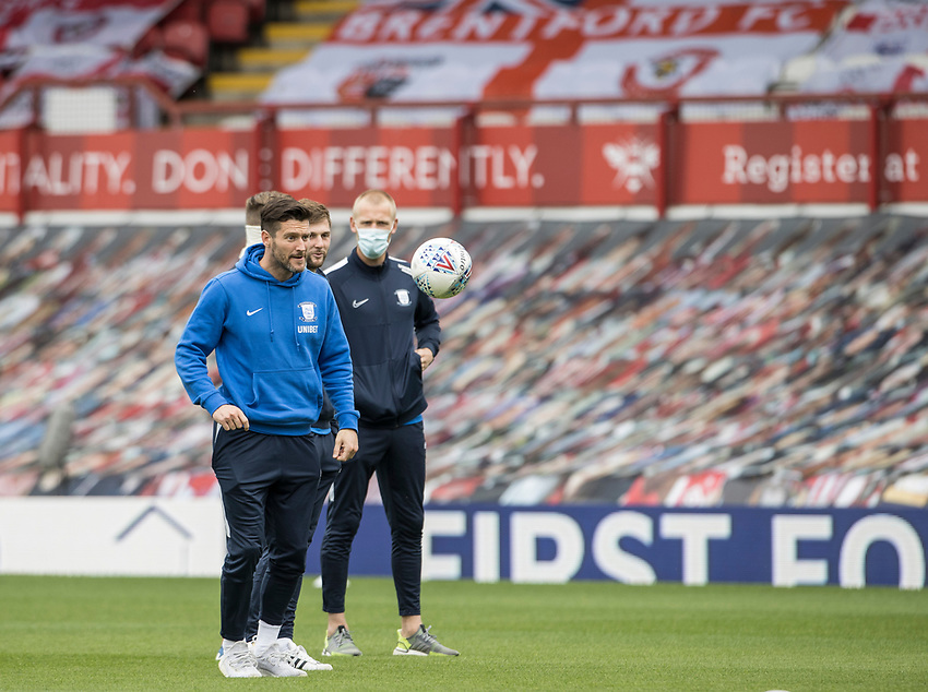 Preston North End's David Nugent during the pitch inspection <br /> <br /> Photographer Andrew Kearns/CameraSport<br /> <br /> The EFL Sky Bet Championship - Brentford v Preston North End - Wednesday 15th July 2020 - Griffin Park - Brentford <br /> <br /> World Copyright © 2020 CameraSport. All rights reserved. 43 Linden Ave. Countesthorpe. Leicester. England. LE8 5PG - Tel: +44 (0) 116 277 4147 - admin@camerasport.com - www.camerasport.com