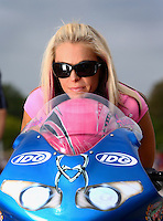 Sept. 1, 2013; Clermont, IN, USA: NHRA pro stock motorcycle rider Angie Smith during qualifying for the US Nationals at Lucas Oil Raceway. Mandatory Credit: Mark J. Rebilas-