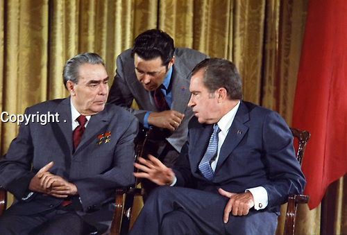 Leonid Brezhnev and Richard Nikon Talk, June 19, 1973. during the Soviet Leader's U.S. visit. The interpreter is Viktor Sukhodrev.
