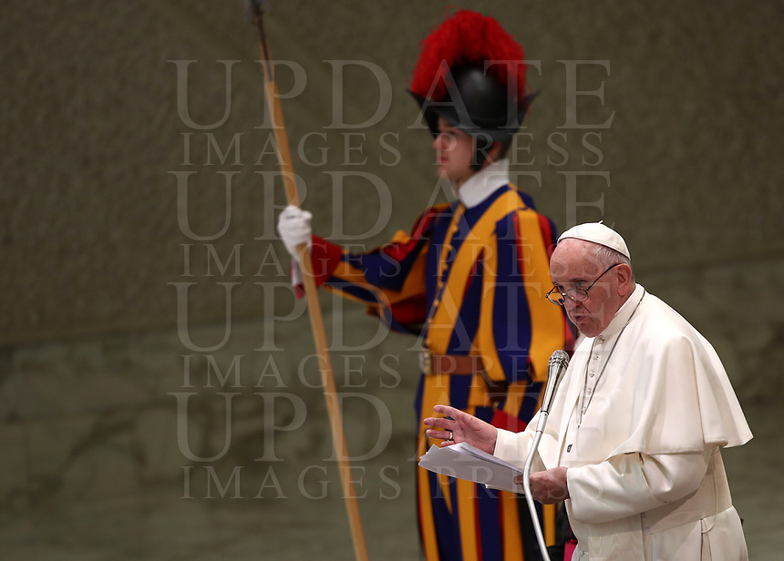 Pope Francis leads an audience with members of the confederation of the Italian cooperatives in the Paul VI Hall at the Vatican, on 16 march, 2019.<br /> UPDATE IMAGES PRESS/Isabella Bonotto<br /> <br /> STRICTLY ONLY FOR EDITORIAL USE