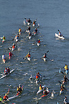 Open water race, high performance kayaks; aerial, Sound Rowers Open Water Rowing and Paddling Club, La Conner, Swinomish Channel, Washington State, Pacific Northwest,  USA,..