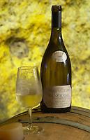 Oak barrel aging and fermentation cellar. Megalithe 2005. Domaine de la Perriere, Sancerre, Loire, France