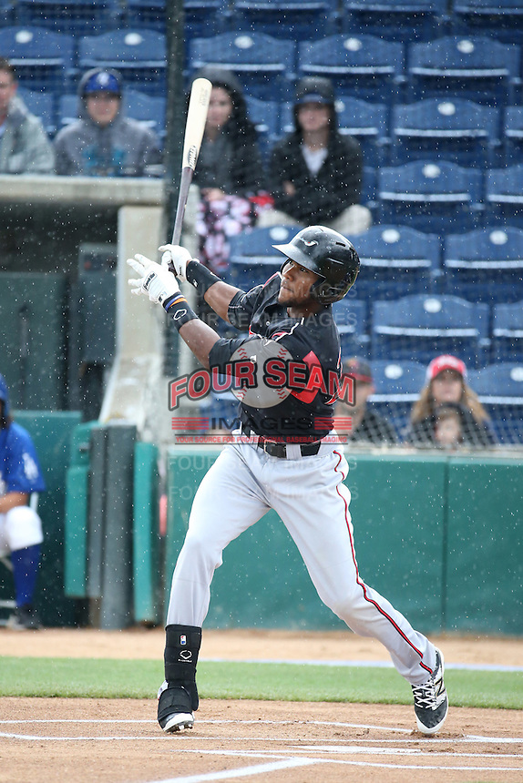 Franchy Cordero (26) of the Lake Elsinore Storm bats against the Rancho Cucamonga Quakes at LoanMart Field on April 10, 2016 in Rancho Cucamonga, California. Lake Elsinore defeated Rancho Cucamonga, 7-6. (Larry Goren/Four Seam Images)