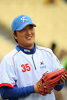 Jin Young Lee of Korea during a game against Venezuela at the World Baseball Classic at Dodger Stadium on March 21, 2009 in Los Angeles, California. (Larry Goren/Four Seam Images)