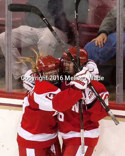 Natasza Tarnowski (BU - 13), Sammy Davis (BU - 16) - The Boston College Eagles defeated the visiting Boston University Terriers 5-3 (EN) on Friday, November 4, 2016, at Kelley Rink in Conte Forum in Chestnut Hill, Massachusetts.The Boston College Eagles defeated the visiting Boston University Terriers 5-3 (EN) on Friday, November 4, 2016, at Kelley Rink in Conte Forum in Chestnut Hill, Massachusetts.
