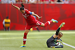 (L-R) Christine Sinclair (CAN), aelle Thalmann (SUI), JUNE 21, 2015 - Football / Soccer : <br /> FIFA Women's World Cup Canada 2015 Round of 16 match between Canada 1-0 Switzerland at BC Place Stadium, <br /> Vancouver, Canada. (Photo by Yusuke Nakansihi/AFLO SPORT)