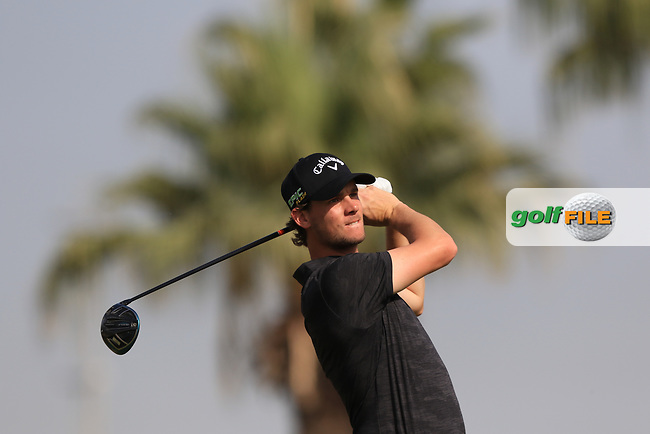 Thomas Pieters (BEL) on the 3rd during Round 4 of the Omega Dubai Desert Classic, Emirates Golf Club, Dubai,  United Arab Emirates. 27/01/2019<br /> Picture: Golffile | Thos Caffrey<br /> <br /> <br /> All photo usage must carry mandatory copyright credit (© Golffile | Thos Caffrey)