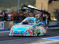 Jul 24, 2016; Morrison, CO, USA; NHRA funny car driver Courtney Force during the Mile High Nationals at Bandimere Speedway. Mandatory Credit: Mark J. Rebilas-USA TODAY Sports