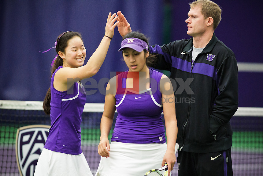 Natali Coronel and Riko Shimizu Luke Shields - University of Washington Huskies women's tennis team defeats Sacramento State University Hornets at Nordstrom Tennis Center in Seattle Friday, Feb. 10, 2012. (Photos by Andy Rogers/Red Box Pictures)