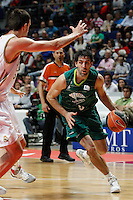 01.04.2012 SPAIN - ACB match played between Real Madrid vs Unicaja  at Palacio de los deportes stadium. The picture show Berni Rodriguez (Unicaja)