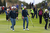 Stephen Gallacher (EUR) and Ian Poulter (EUR) during the first practice day ahead of the 2014 Ryder Cup at Gleneagles, Perthshire, Scotland 26th to 28th September 2014. Picture David Lloyd / www.golffile.ie.