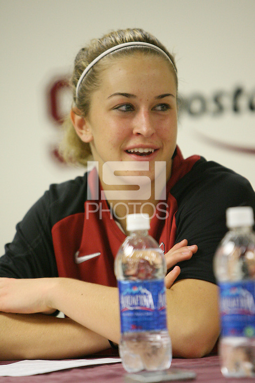 STANFORD, CA - NOVEMBER 20:  JJ Hones of the Stanford Cardinal talks with the media during a press conference after Stanford's 84-46 win over the University of New Mexico on November 20, 2008 at Maples Pavilion in Stanford, California.