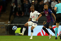 Rafinha of FC Barcelona and Lucas of Tottenham Hotspur during Tottenham Hotspur vs FC Barcelona, UEFA Champions League Football at Wembley Stadium on 3rd October 2018