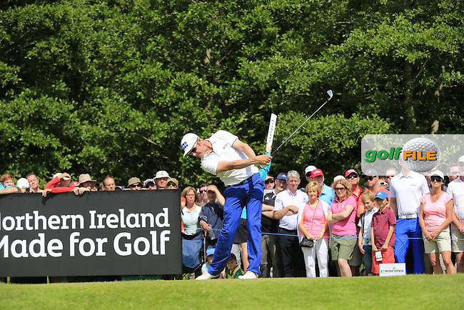 Mikko Ilonen (FIN) tees off the 17th tee during Sunday's Final Round of the 2014 Irish Open held at Fota Island Resort, Cork, Ireland. 22nd June 2014.<br /> Picture: Eoin Clarke www.golffile.ie