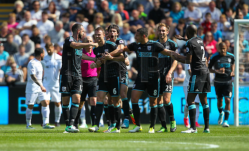 May 21st 2017, Liberty Stadium, Swansea Wales;  EPL Premier league football, Swansea versus West Bromwich Albion; Jonny Evans of West Bromwich Albion (C) celebrates after scoring his sides first goal in the 33rd minute of the match