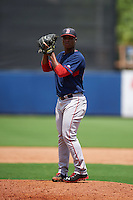 GCL Red Sox pitcher Yankory Pimentel (64) gets ready to deliver a pitch during the second game of a doubleheader against the GCL Rays on August 4, 2015 at Charlotte Sports Park in Port Charlotte, Florida.  GCL Red Sox defeated the GCL Rays 2-1.  (Mike Janes/Four Seam Images)