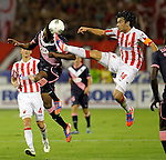 Fc Girondins de Bordeaux player Nicolas Maurice-Belay (L) fights for the ball with Nikola Mikic of Red Star during UEFA Europa league play-off first leg football match between Red Star Belgrade and Fc Girondins de Bordeaux, in Belgrade SERBIA - 23/08/2012. /Credit:MILOSAVLJEVIC/SIPA/