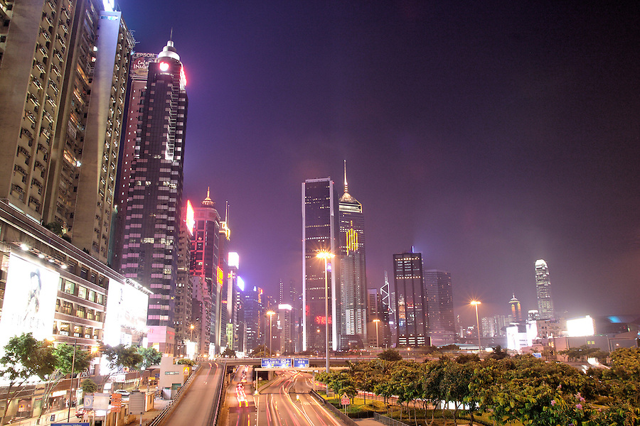 Hong Kong city skyline at night, Hong Kong SAR, China, Asia