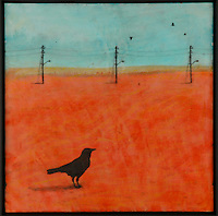 Encaustic painting with lone crow photo transfer by Jeff League.
