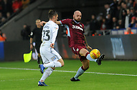 Aston Villa's Alan Hutton battles with Swansea City's Connor Roberts<br /> <br /> Photographer Ian Cook/CameraSport<br /> <br /> The EFL Sky Bet Championship - Swansea City v Aston Villa - Wednesday 26th December 2018 - Liberty Stadium - Swansea<br /> <br /> World Copyright © 2018 CameraSport. All rights reserved. 43 Linden Ave. Countesthorpe. Leicester. England. LE8 5PG - Tel: +44 (0) 116 277 4147 - admin@camerasport.com - www.camerasport.com