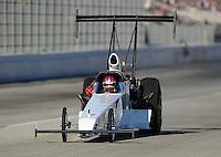 Nov 13, 2010; Pomona, CA, USA; NHRA top alcohol dragster driver Megan McKernan during qualifying for the Auto Club Finals at Auto Club Raceway at Pomona. Mandatory Credit: Mark J. Rebilas-
