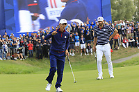 Thorbjorn Olesen Team Europe sinks his putt on the 8th green during Friday's Fourball Matches at the 2018 Ryder Cup, Le Golf National, Iles-de-France, France. 28/09/2018.<br /> Picture Eoin Clarke / Golffile.ie<br /> <br /> All photo usage must carry mandatory copyright credit (© Golffile | Eoin Clarke)