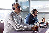 Scott Zolak (left) and Marc Bertrand talk on the Zolak and Bertrand radio show, a weekly New England sports radio afternoon broadcast on 98.5 The Sports Hub, at the CBS Scene Restaurant and Bar at Patriot Place next to Gillette Stadium in Foxoborough, Mass., USA, on Wed., Jan. 24, 2018. Zolak is a former backup quarterback for the New England Patriots football team and is the Patriots' radio color commentator. Zolak and Bertrand have been broadcasting together for about 3 years. During this broadcast, Zolak and Bertrand talked about their plans to go to the upcoming Super Bowl, ticket prices for the Super Bowl, and had an interview with Boston Celtics Head Coach Brad Stevens. Producer Jim Louth (right) helps out with the broadcast.