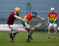 8th March 2020; TEG Cusack Park, Mullingar, Westmeath, Ireland; Allianz League Division 1 Hurling, Westmeath versus Carlow; Diarmuid Byrne (Carlow) holds on to the ball under pressure from Aaron Craig (Westmeath)