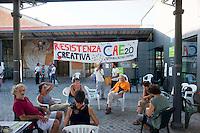 Roma, 31 Luglio 2012.Occupati gli   spazi commerciali della Città dell'Altraeconomia, nell'ex Mattatoio di Testaccio dagli operatori che originariamente gestivano gli spazi - i cui contratti erano scaduti mesi fa e avrebbero dovuto lasciare la struttura il 31 luglio.