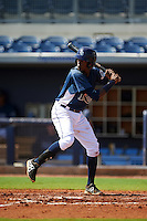 GCL Rays second baseman Joseph Astacio (7) at bat during the first game of a doubleheader against the GCL Red Sox on August 4, 2015 at Charlotte Sports Park in Port Charlotte, Florida.  GCL Red Sox defeated the GCL Rays 10-2.  (Mike Janes/Four Seam Images)