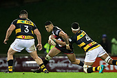 Etene Nanai-Seturo is tackled by Tupou Vaa'i. Mitre 10 Cup rugby game between Counties Manukau Steelers and Taranaki Bulls, played at Navigation Homes Stadium, Pukekohe on Saturday August 10th 2019. Taranaki won the game 34 - 29 after leading 29 - 19 at halftime.<br /> Photo by Richard Spranger.