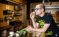 Reporter Harry Wallop smells marijuana during a marijuana tour in Denver, Colorado, Friday, September 30, 2016. <br /> <br /> Photo by Matt Nager