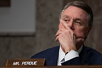 Senator David Perdue, Republican of Georgia, listens to testimony during a Senate Armed Services Committee on Capitol Hill in Washington, DC on February 7, 2019. Credit: Alex Edelman / CNP/AdMedia